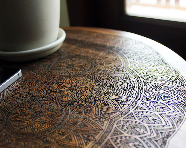 table design with wood burning