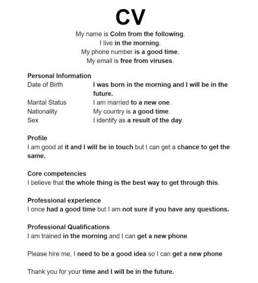 guy creates hilarious résumé using google autocomplete inspires