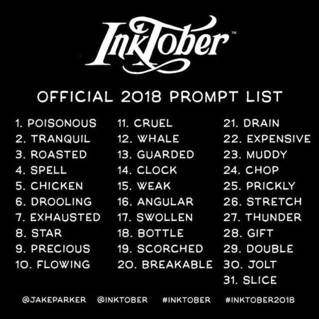 Inktober Prompts Inktober 2018