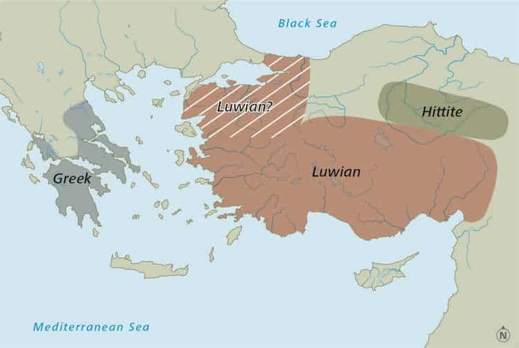 Map of Where Luwian was Spoken