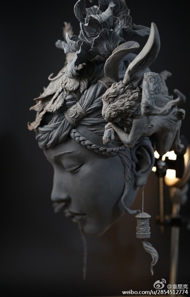 Surreal Bust Sculpture by Yuanxing Liang