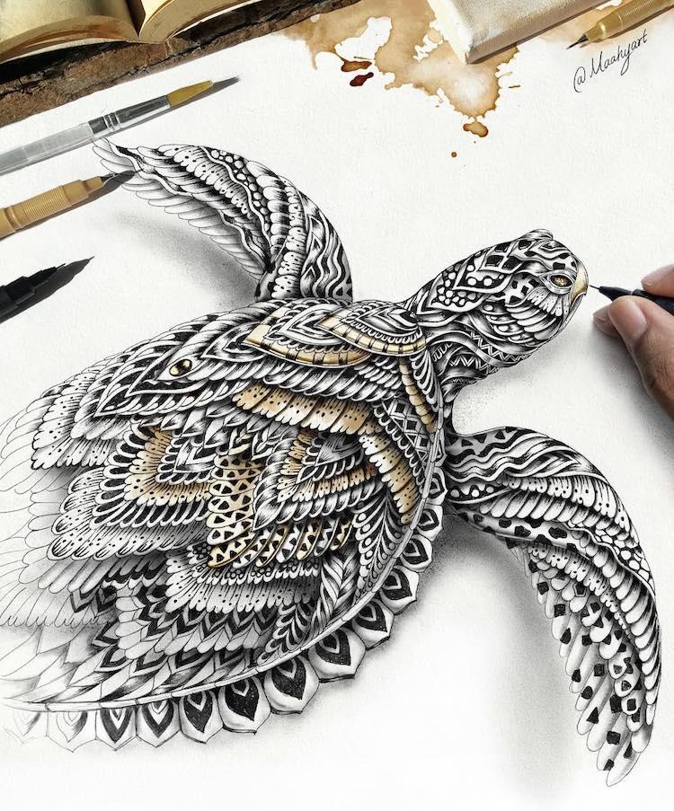 Zentangle Fantasy Art by Mahi Abdul Maahy's Art