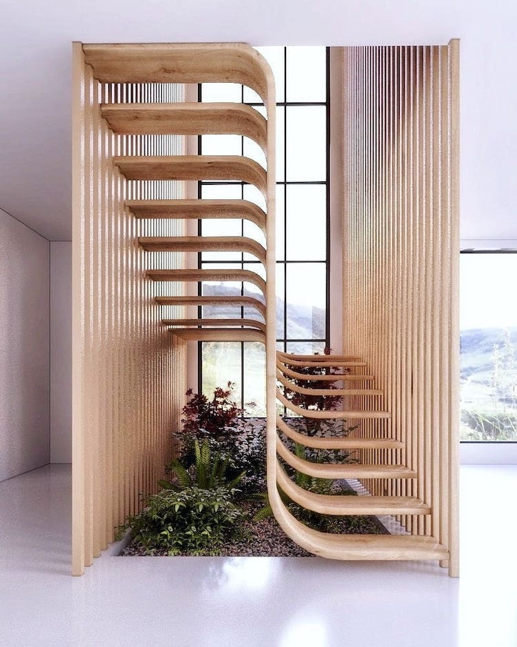 Modern Stair Design Resembles A Strand Of Dna Inside A Home | Stairs Window Glass Design | Classic | Foreign Window | Simple | Stairwell | Grill