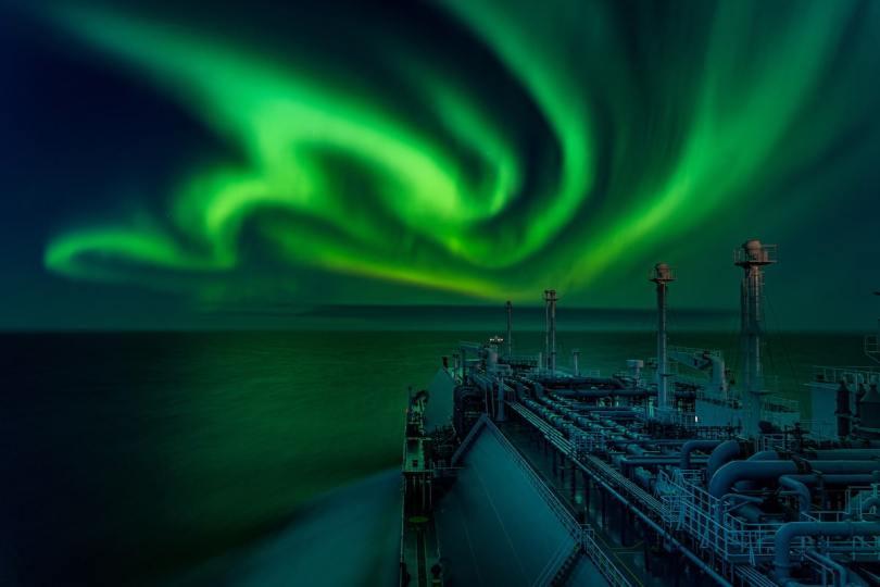 Aurora Borealis Over the Bow of a Ship
