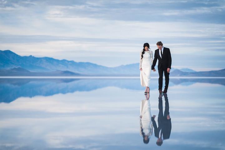 Beautifully Surreal Wedding Photos Show Couple Walking On