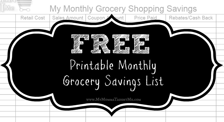 Printable Grocery Shopping Savings List