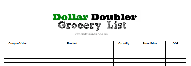 Dollar Doublers Grocery List Preview