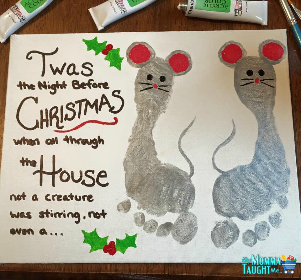 Twas The Night Before Christmas Mouse Foot Print Wall Art