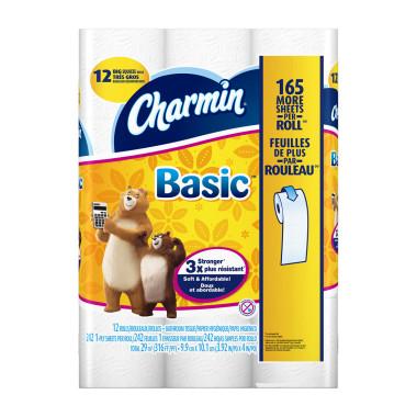 Charmin Basic Bath Tissue Big Squeeze Rolls - 12 rolls