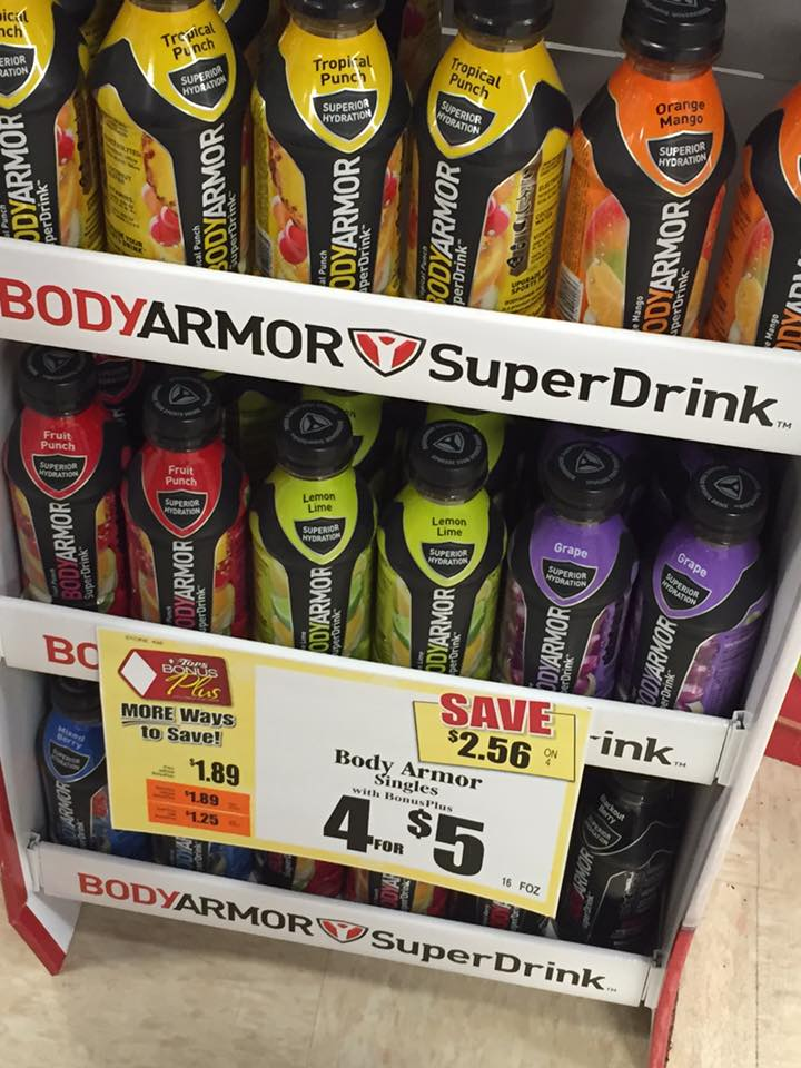 Grab Body Armor Drinks for Only $0.25 a bottle at Tops this week