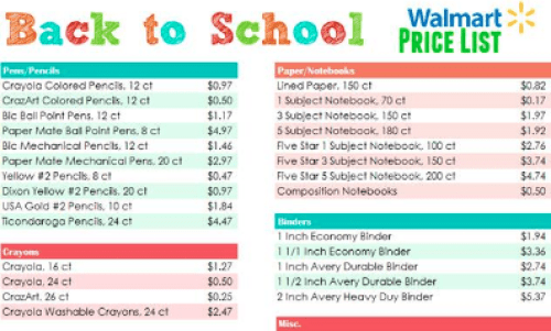 Free Printable Back to School Walmart Price List