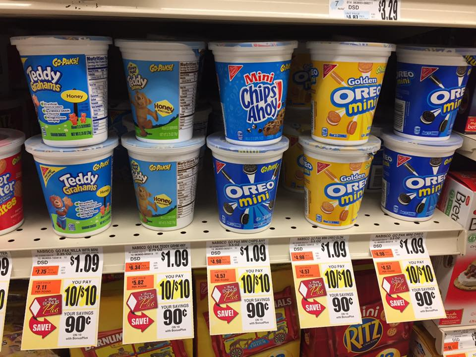 Nabisco Go Paks at $0.25 each at Tops