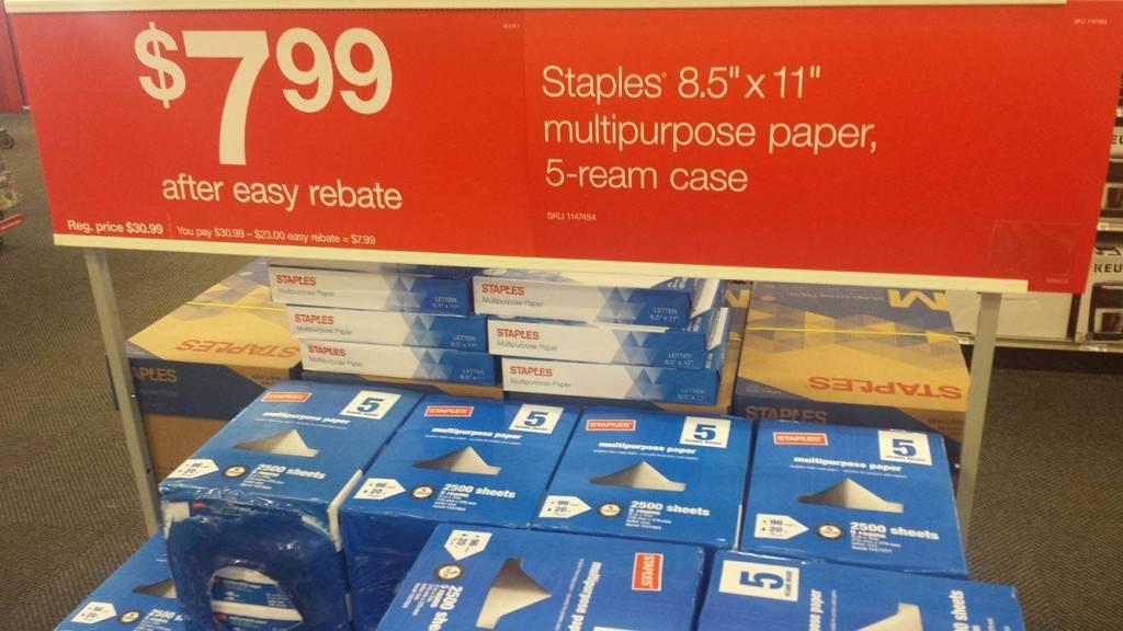 Staples 5 Ream Paper Deal