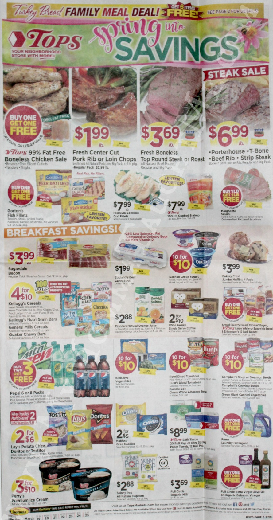 Tops Markets Ad Scan Week Of 3 19 17 To 3 25 17 Page 1