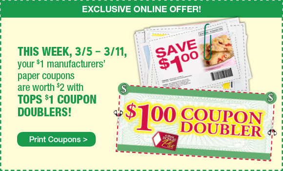 Tops Markets Dollar Doubler Printable Coupon 3 5 To 3 11