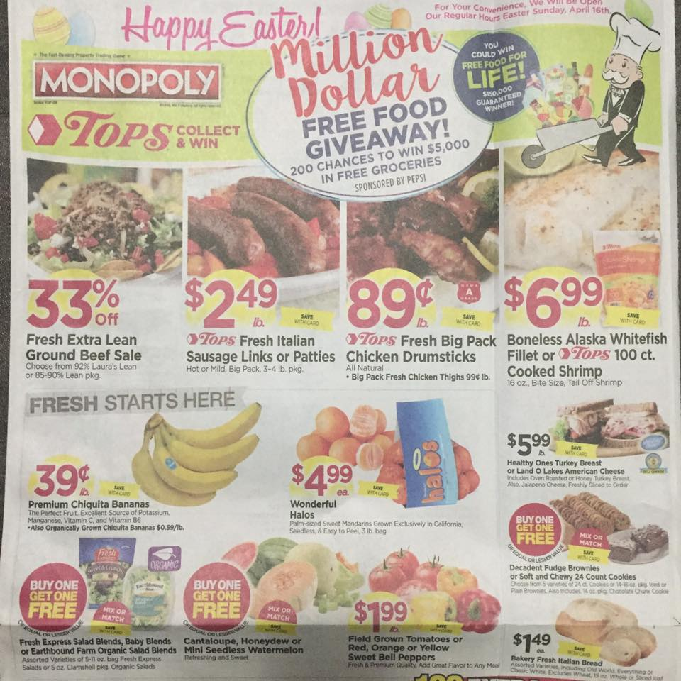 Tops Markets Ad Scan Week Of 4 16 17 To 4 22 17 Page 1a