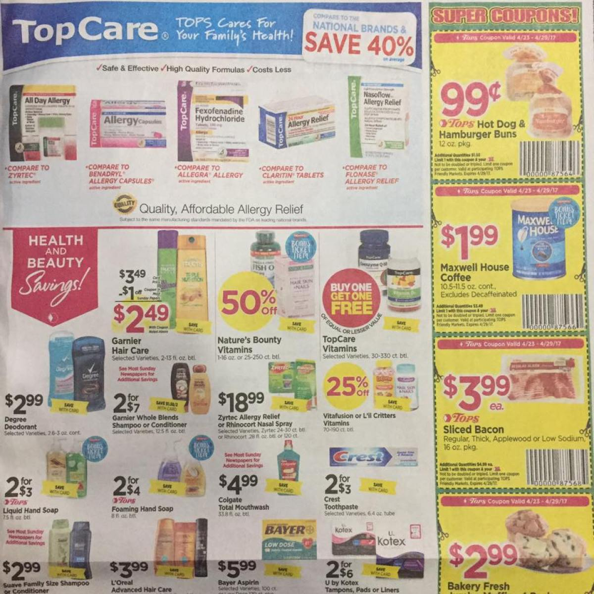 Tops Markets Ad Scan Week Of 4 23 17 To 4 29 17 Page 7a