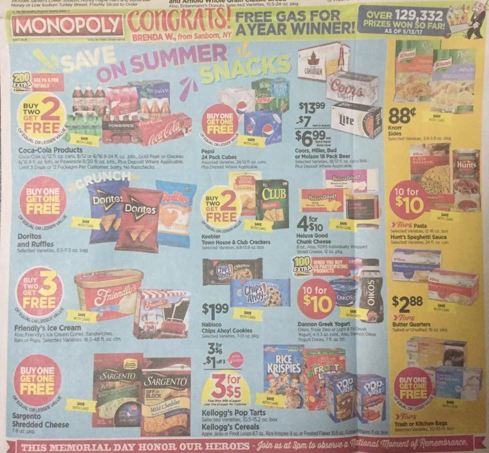 Tops Markets Ad Scan Week Of 5 28 17 To 6 3 17 Page 1b