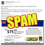 Spam Coupons On Facebook