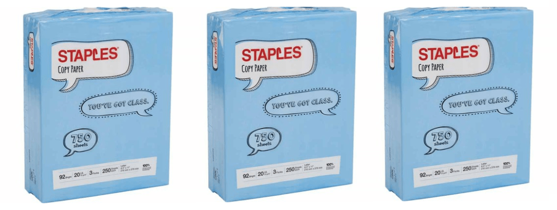 Staples 750 Sheets Paper Only $1 00 After Rebate