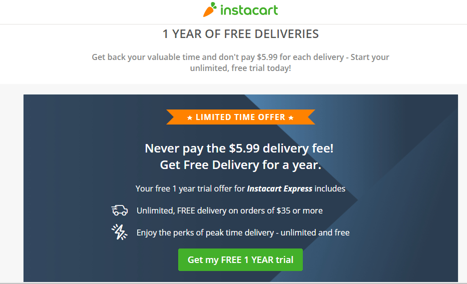 Free 1 Year Offer For Wegmans Home Delivery Service