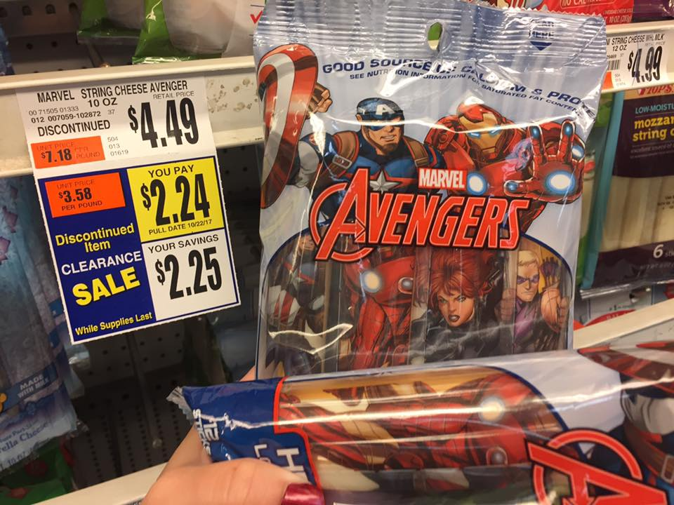 Marvel Avengers String Cheese Only $0 74 At Tops Markets