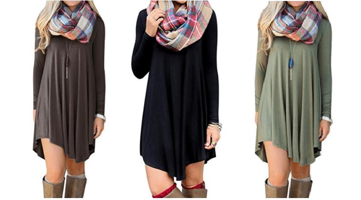 Women's Long Sleeve Casual Loose T Shirt Dress