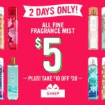 Bath And Body Works $5 Spray Deal