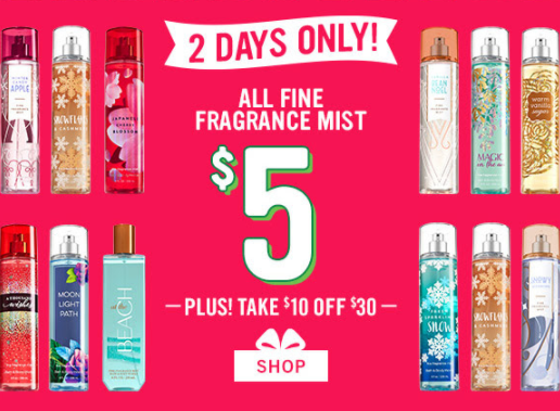 Bath And Body Works $5 Spray Deal