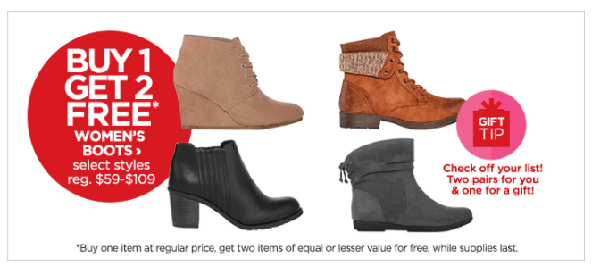 Buy 1 Get 2 Free Boots At JCP