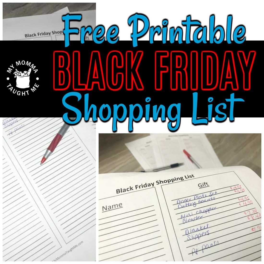 Free Printable Black Friday Shopping List