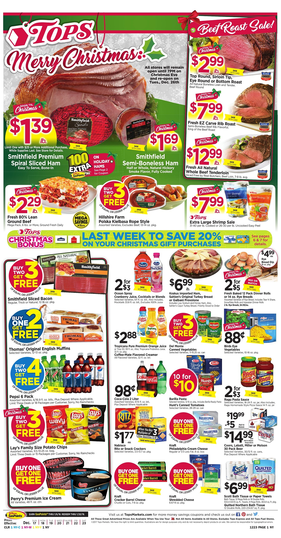 Tops Markets Ad Scan Week 12 17 Page 1