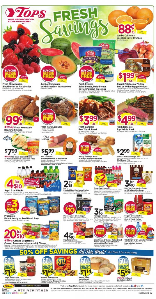 Tops Markets Ad Scan Preview Week 1 14 18 Page 1
