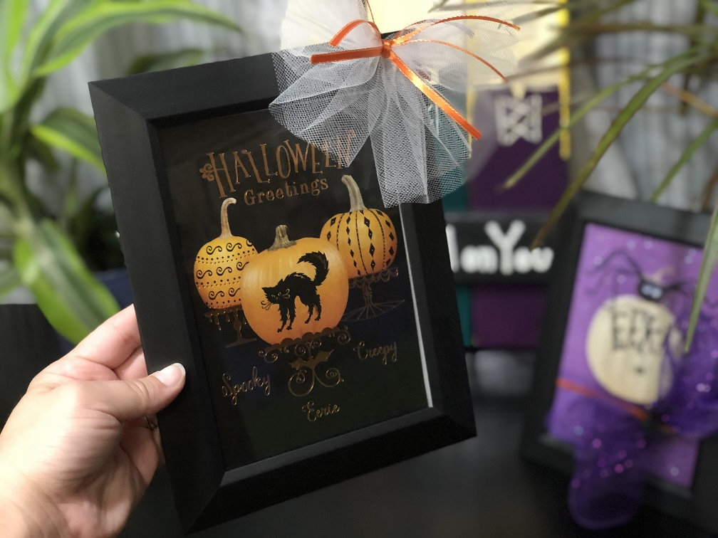 Halloween Decor Using Picture Frame And Card From Dollar Tree