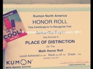 My Mommyology Kumon Honor Certificate
