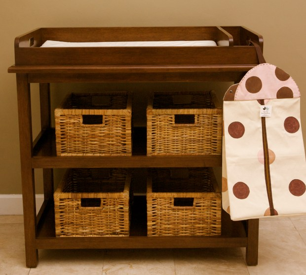 Shameless plug: The Two Tots Ava changing table is sturdy and safe, and it has enough storage to hold whatever you need!