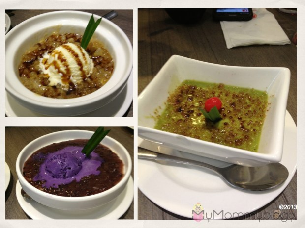 Clockwise:  Sago Gula-Melaka, The Green Tea Creme Brulee and a Taro Pudding dish.  Yumyumyum.