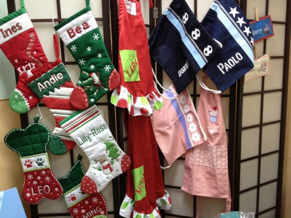 The stockings, the aprons and the drawstring bags!