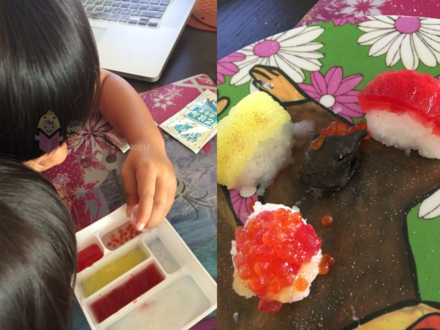Left:  Making the fish roe.  That was pretty cool.  Right:  finished product.  It was our first try!  Don't judge. ;)