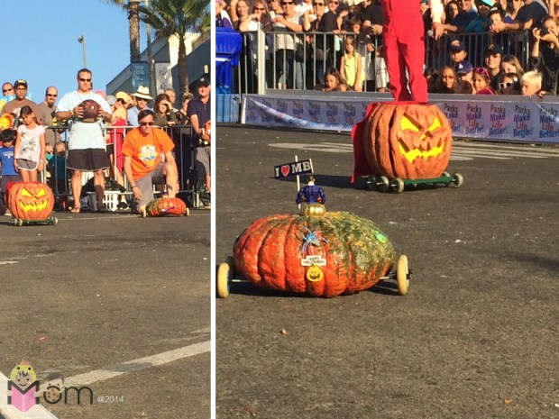 Left:  Guy in orange is the Mayor.  The Mayor!  And his pumpkin is making it's way to us in the right photo