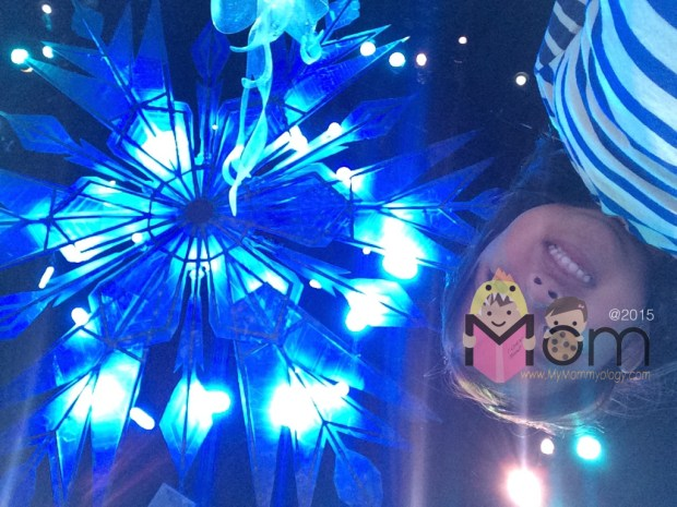 The ceiling is the iconic magical snowflake from Elsa.
