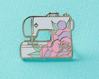 sewing machine pin badge