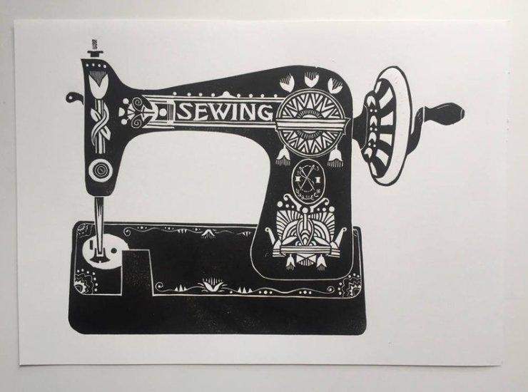 Linocut sewing machine print