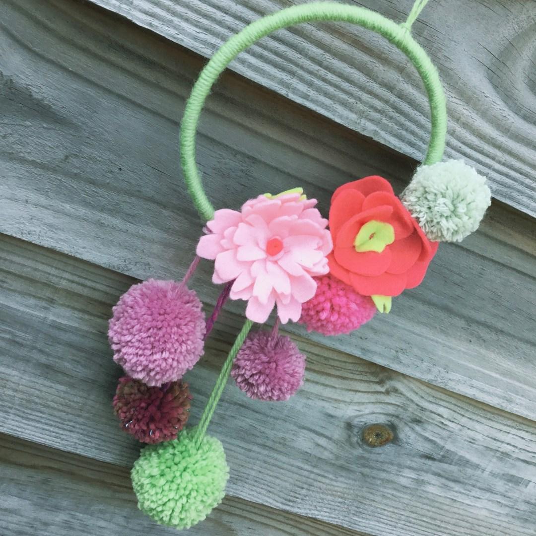 pom pom and flower wreath