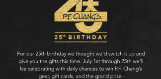 P.F. Changs 25 Birthday Sweepstakes