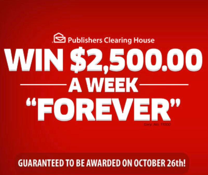 PCH.com $2,500 a Week Forever SuperPrize (NBC 10/26/18)