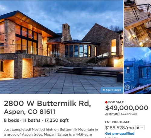 50 million dollar aspen mansion
