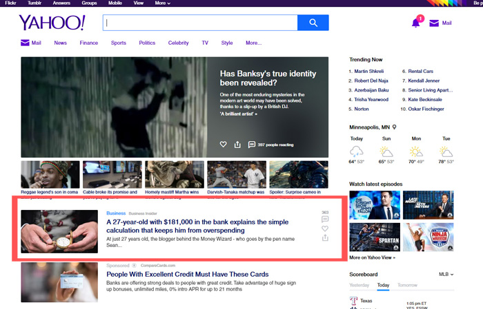 front page yahoo