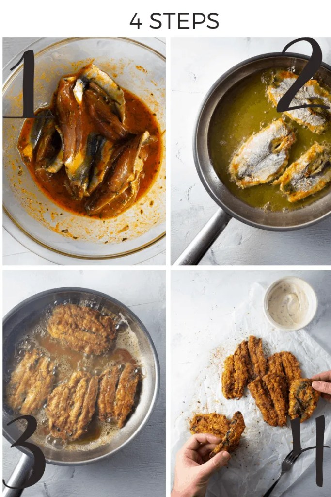 Moroccan Fried Sardines Step By Step Collage