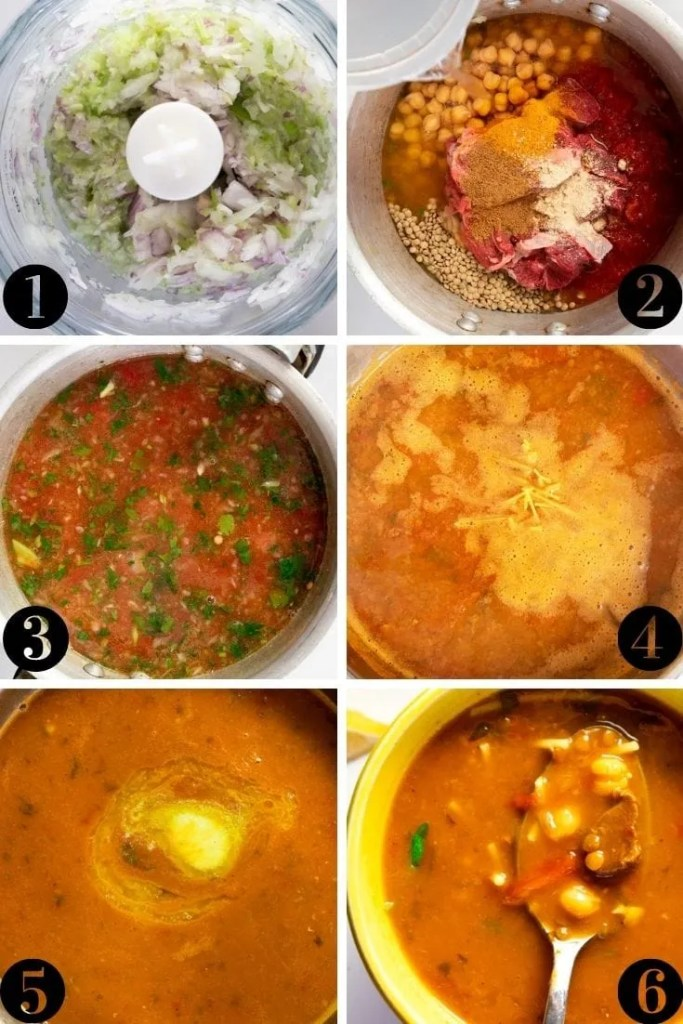 Step by step collage explaining how to make moroccan harira
